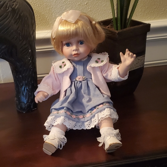 Porcelain Doll - Blonde Blue  Eyed Girl
